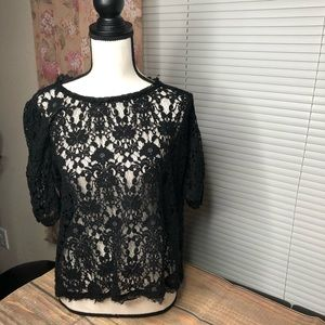 Black Lacey Womens Top Short Sleeves Size XL
